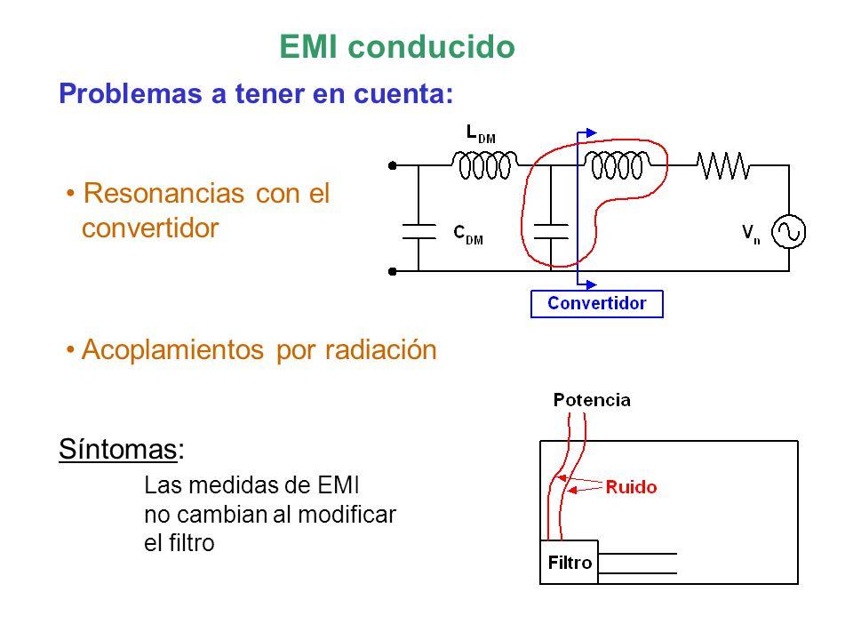 EMI conducido Problemas a tener en cuenta: Resonancias con el convertidor Acoplamientos por radiación Síntomas: Las medidas de EMI no cambian al modificar el filtro