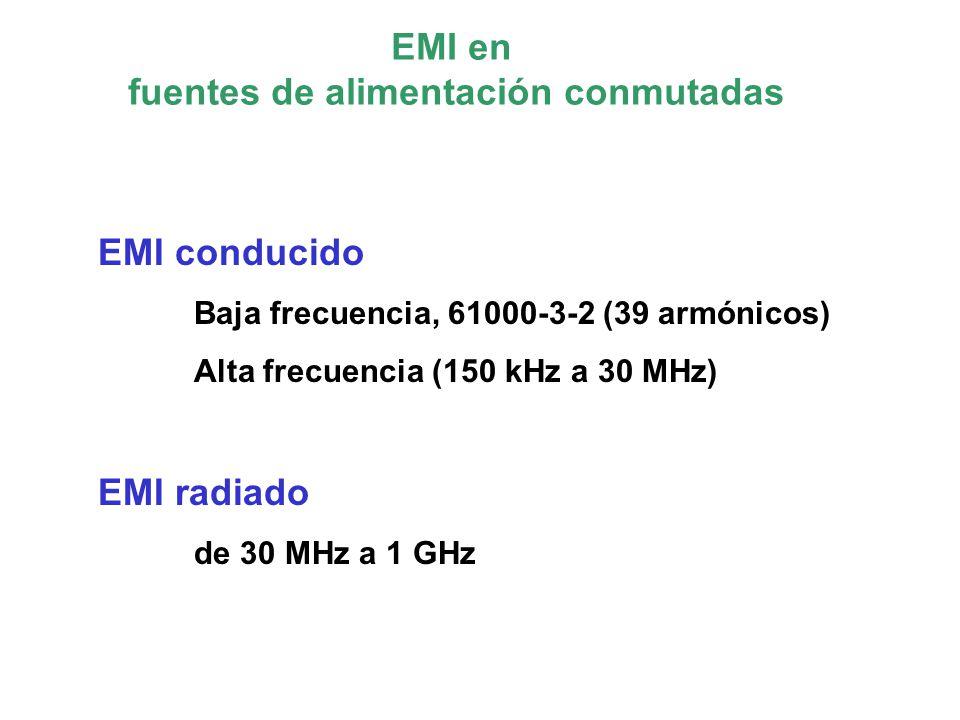 EMI en fuentes de alimentación conmutadas EMI conducido Baja frecuencia, 61000-3-2 (39 armónicos) Alta frecuencia (150 kHz a 30 MHz) EMI radiado de 30 MHz a 1 GHz