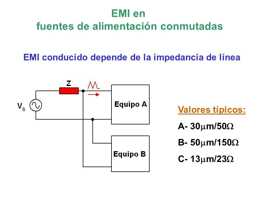 EMI conducido Utilizar planos de masa En alta frecuencia el retorno se realiza de forma que el área encerrado sea mínimo para minimizar la inductancia serie.