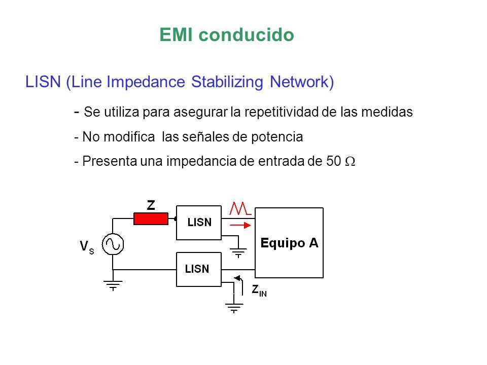 EMI conducido LISN (Line Impedance Stabilizing Network) - Se utiliza para asegurar la repetitividad de las medidas - No modifica las señales de potencia - Presenta una impedancia de entrada de 50