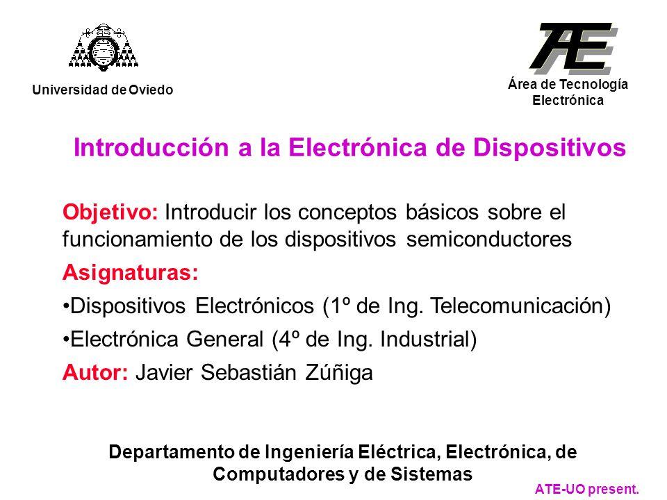 Introducción a la Electrónica de Dispositivos Universidad de Oviedo Área de Tecnología Electrónica Departamento de Ingeniería Eléctrica, Electrónica, de Computadores y de Sistemas ATE-UO present.
