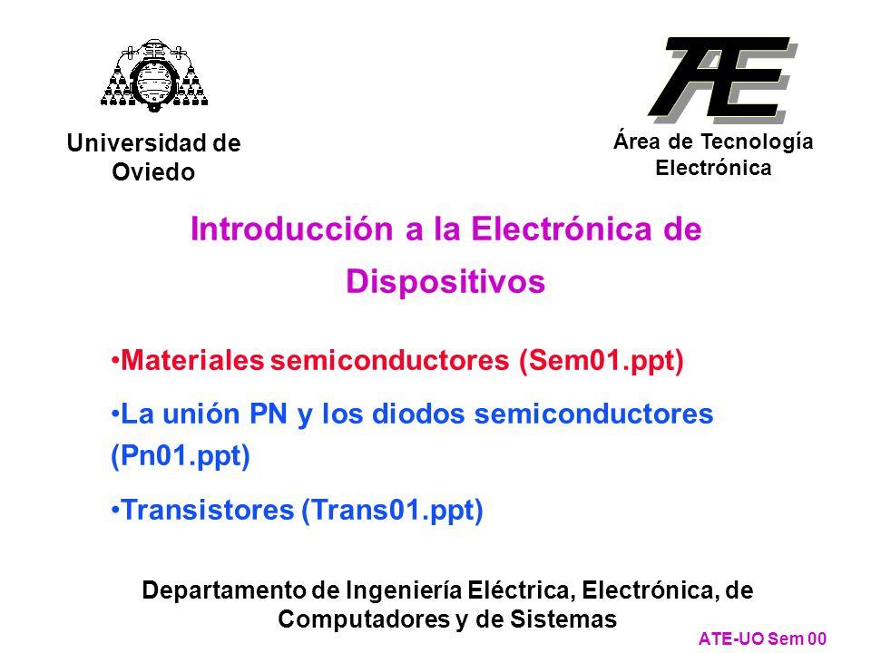 Materiales semiconductores (Sem01.ppt) La unión PN y los diodos semiconductores (Pn01.ppt) Transistores (Trans01.ppt) Introducción a la Electrónica de Dispositivos Universidad de Oviedo Área de Tecnología Electrónica Departamento de Ingeniería Eléctrica, Electrónica, de Computadores y de Sistemas ATE-UO Sem 00