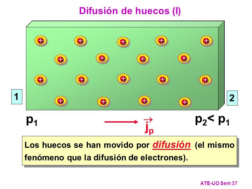 Los huecos se han movido por difusión (el mismo fenómeno que la difusión de electrones).
