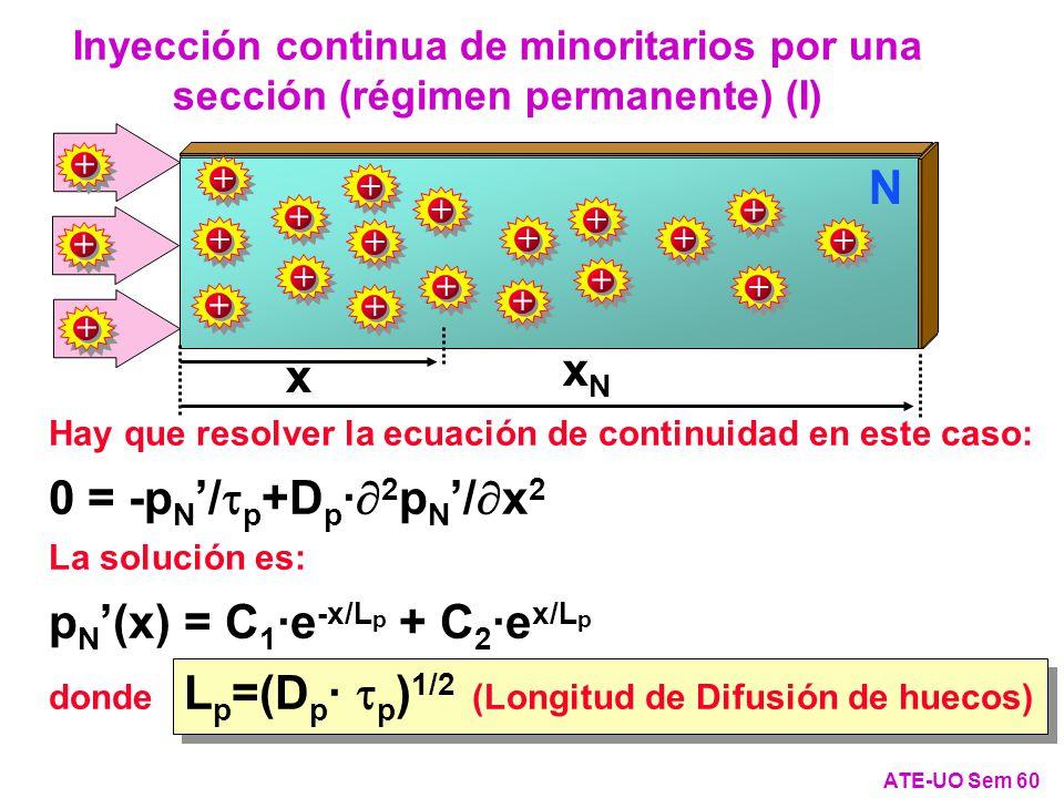 x xNxN + + ++ + + + + + N Hay que resolver la ecuación de continuidad en este caso: 0 = -p N / p +D p · 2 p N / x 2 La solución es: p N (x) = C 1 ·e -x/L p + C 2 ·e x/L p donde L p =(D p · p ) 1/2 (Longitud de Difusión de huecos) Inyección continua de minoritarios por una sección (régimen permanente) (I) ATE-UO Sem 60 + + + + + + + + + + + +