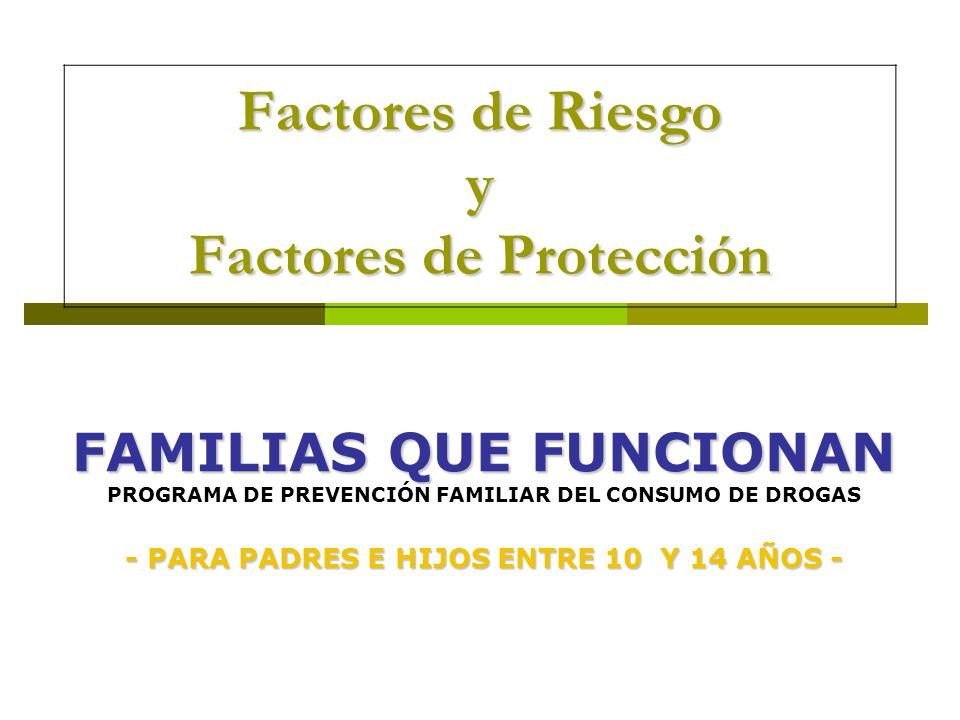 Factores de Riesgo y Factores de Protección FAMILIAS QUE FUNCIONAN FAMILIAS QUE FUNCIONAN PROGRAMA DE PREVENCIÓN FAMILIAR DEL CONSUMO DE DROGAS - PARA
