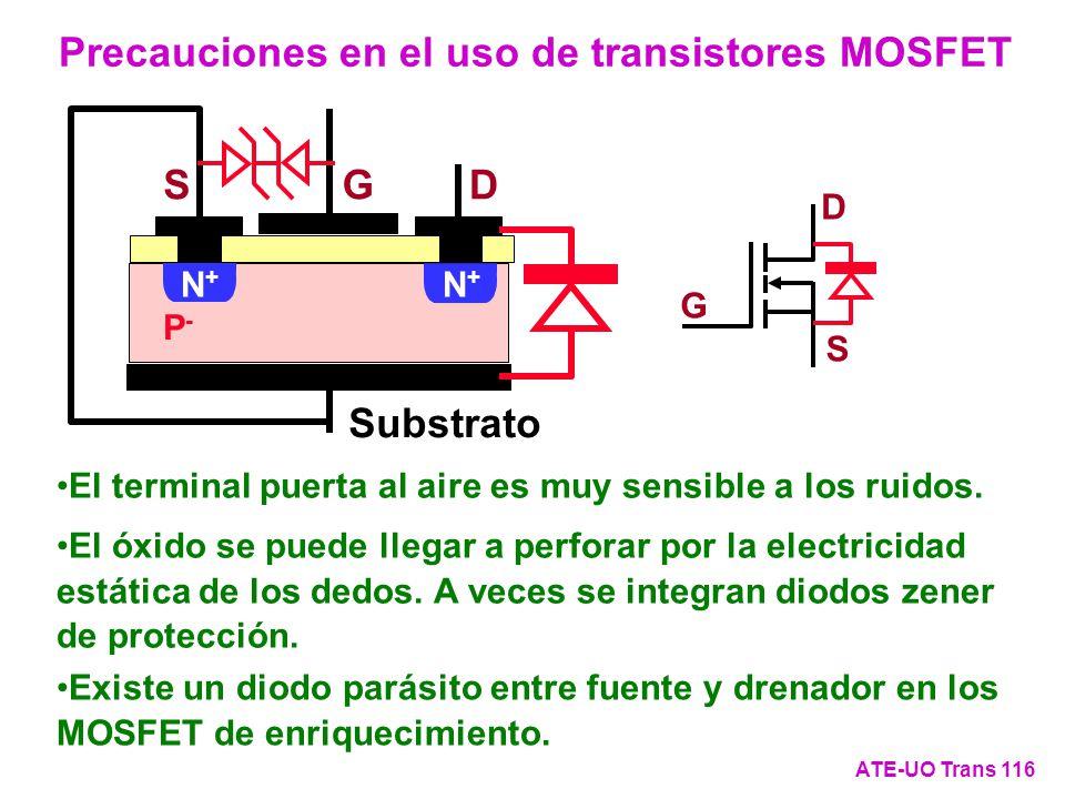 Precauciones en el uso de transistores MOSFET ATE-UO Trans 116 G D S DSG + P-P- Substrato N+N+ N+N+ El terminal puerta al aire es muy sensible a los r