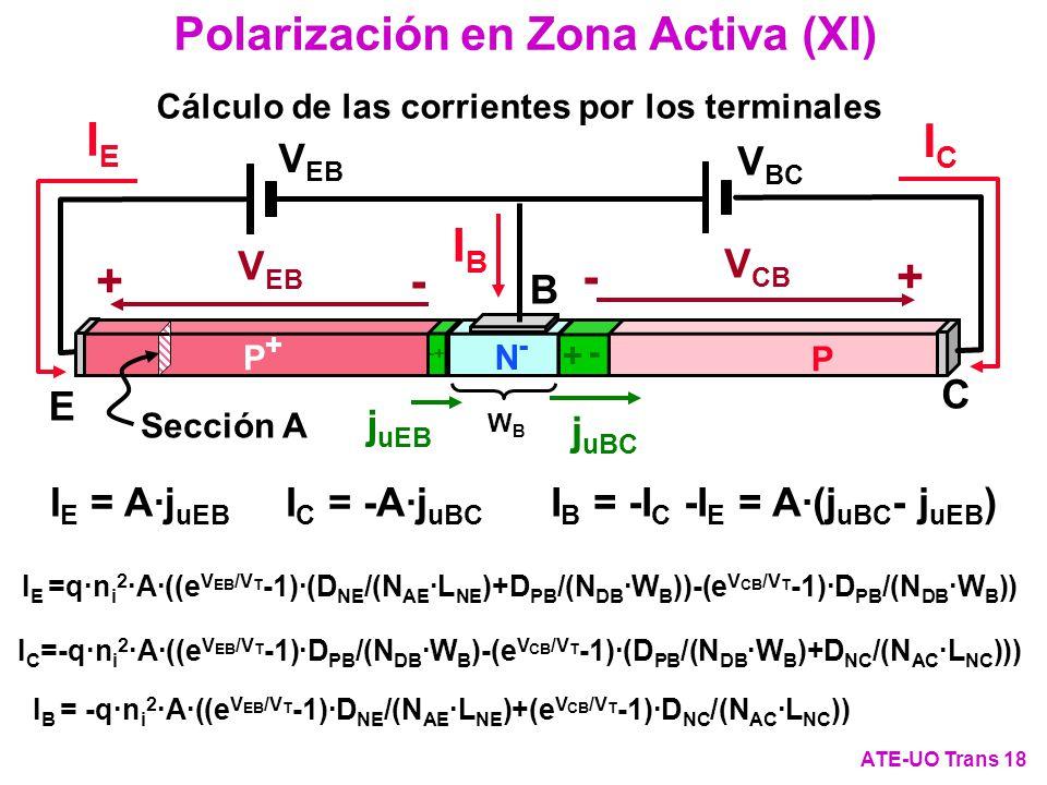 Polarización en Zona Activa (XI) ATE-UO Trans 18 Cálculo de las corrientes por los terminales I E =q·n i 2 ·A·((e V EB /V T -1)·(D NE /(N AE ·L NE )+D