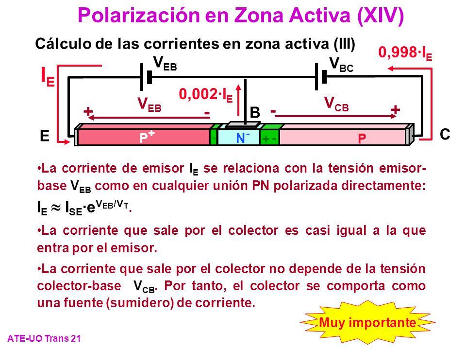 Polarización en Zona Activa (XIV) ATE-UO Trans 21 Cálculo de las corrientes en zona activa (III) E C P+P+ P N-N- B + - - + V EB V BC +- V CB -+ V EB I