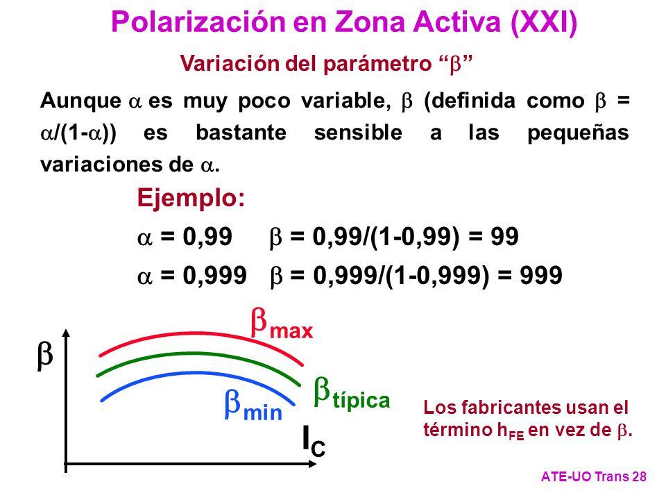 Aunque es muy poco variable, (definida como = /(1- )) es bastante sensible a las pequeñas variaciones de. max típica min ICIC Polarización en Zona Act