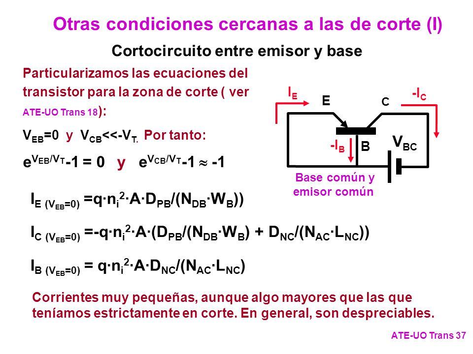 Otras condiciones cercanas a las de corte (I) ATE-UO Trans 37 C E B V BC IEIE -I C -I B Base común y emisor común Particularizamos las ecuaciones del