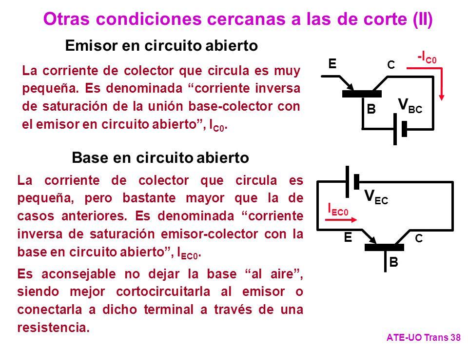 Otras condiciones cercanas a las de corte (II) ATE-UO Trans 38 C E B V BC -I C0 La corriente de colector que circula es pequeña, pero bastante mayor q