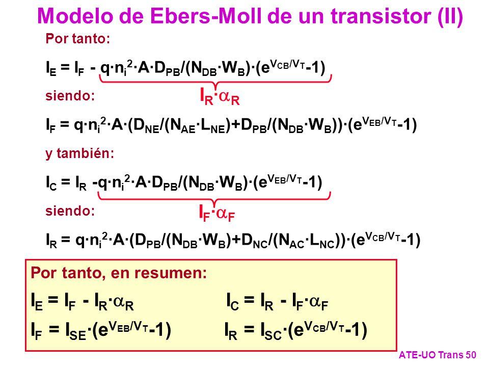 Por tanto: I E = I F - q·n i 2 ·A·D PB /(N DB ·W B )·(e V CB /V T -1) siendo: I F = q·n i 2 ·A·(D NE /(N AE ·L NE )+D PB /(N DB ·W B ))·(e V EB /V T -