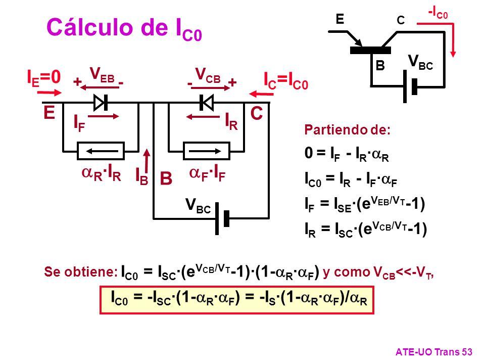 Cálculo de I C0 ATE-UO Trans 53 Partiendo de: 0 = I F - I R · R I C0 = I R - I F · F I F = I SE ·(e V EB /V T -1) I R = I SC ·(e V CB /V T -1) I E =0