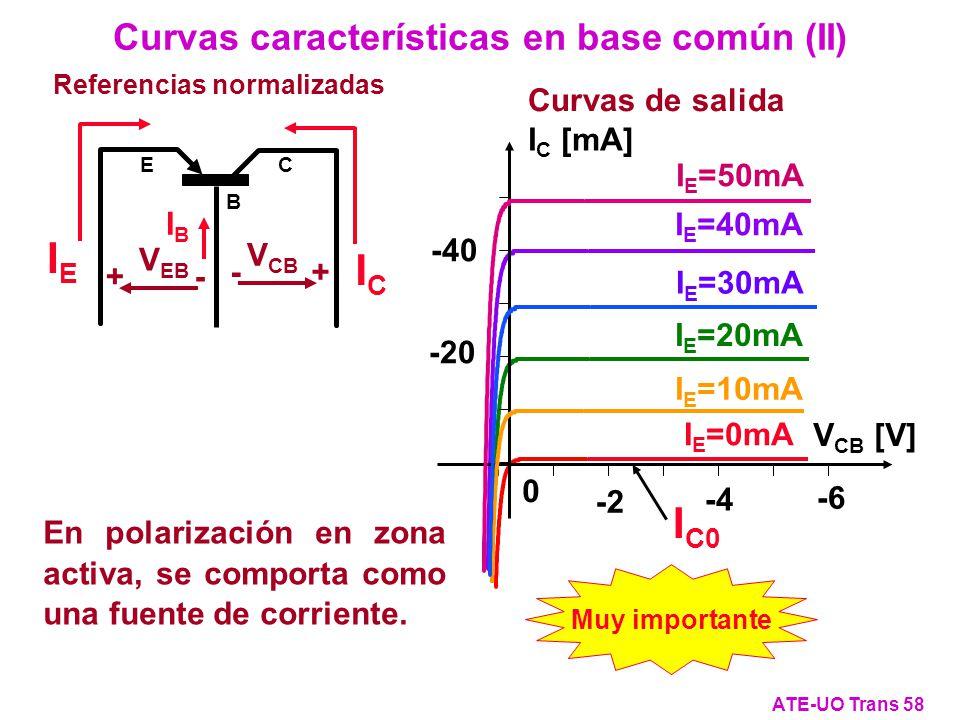 Referencias normalizadas IEIE IBIB ICIC C E B - + V CB + - V EB En polarización en zona activa, se comporta como una fuente de corriente. Curvas carac