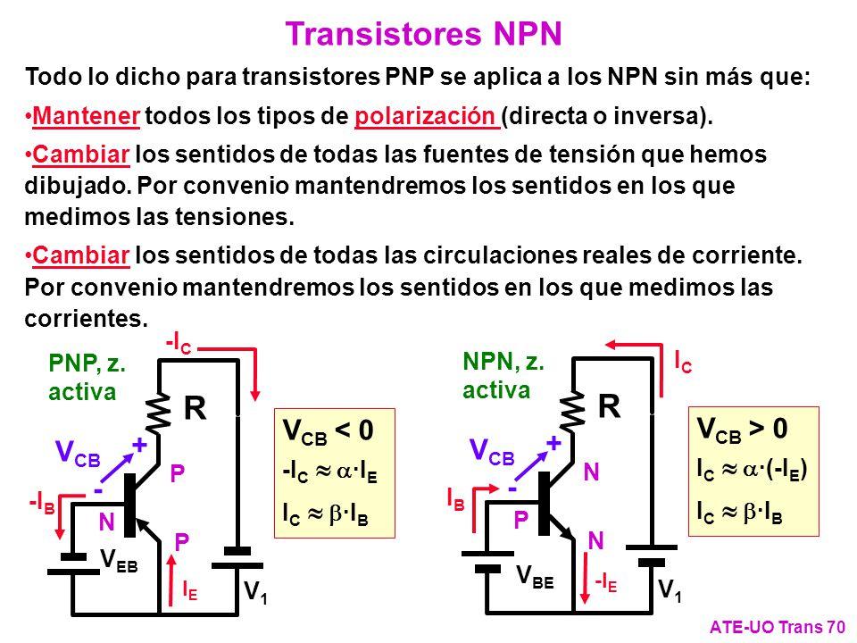 Todo lo dicho para transistores PNP se aplica a los NPN sin más que: Mantener todos los tipos de polarización (directa o inversa). Cambiar los sentido