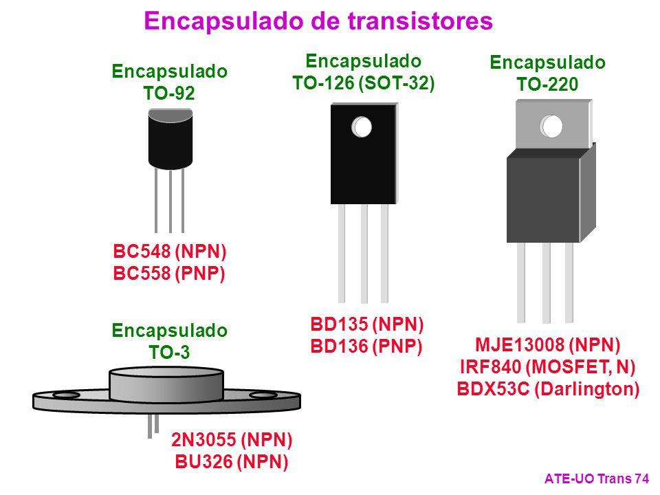 Encapsulado de transistores ATE-UO Trans 74 Encapsulado TO-220 MJE13008 (NPN) IRF840 (MOSFET, N) BDX53C (Darlington) Encapsulado TO-126 (SOT-32) BD135