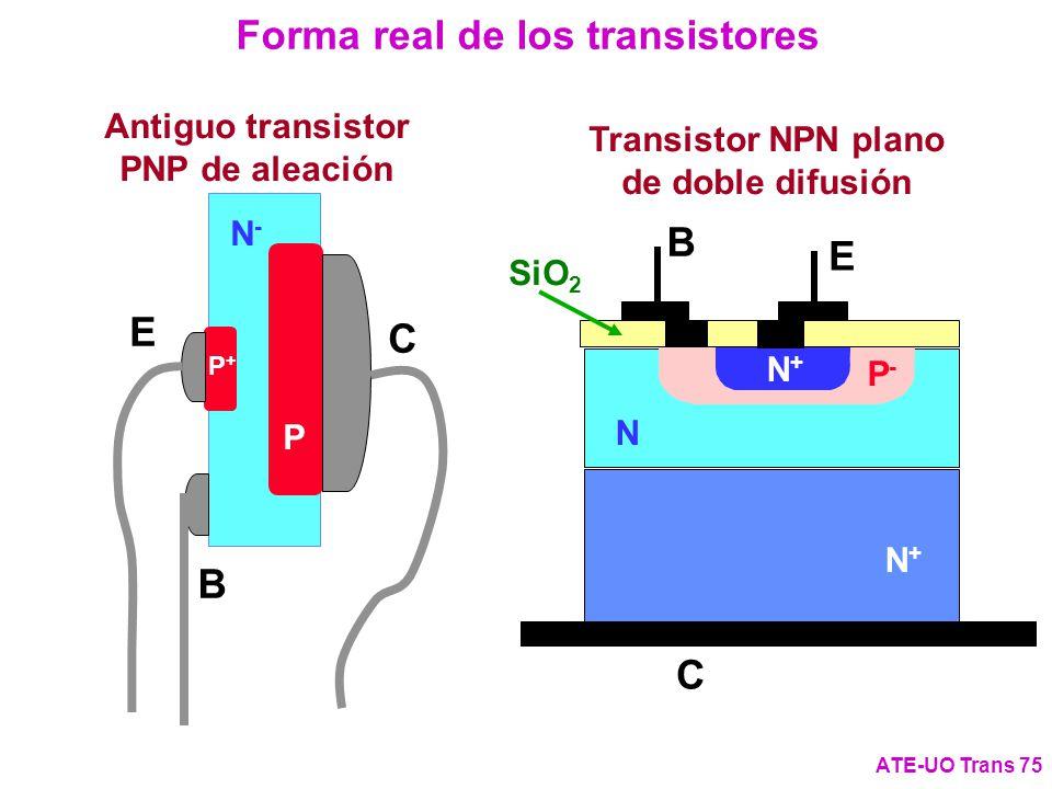 Antiguo transistor PNP de aleación E C B N-N- P P+P+ Forma real de los transistores ATE-UO Trans 75 Transistor NPN plano de doble difusión N+N+ N+N+ N