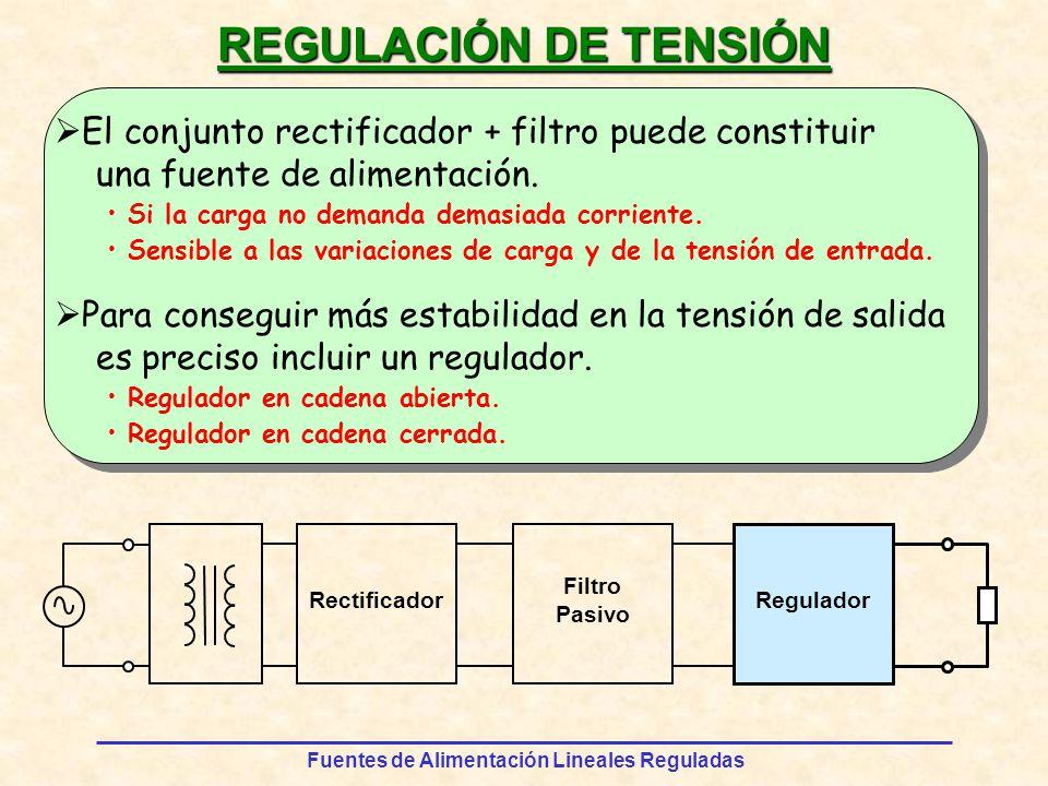 Fuentes de Alimentación Lineales Reguladas REGULACIÓN DE TENSIÓN El conjunto rectificador + filtro puede constituir una fuente de alimentación.