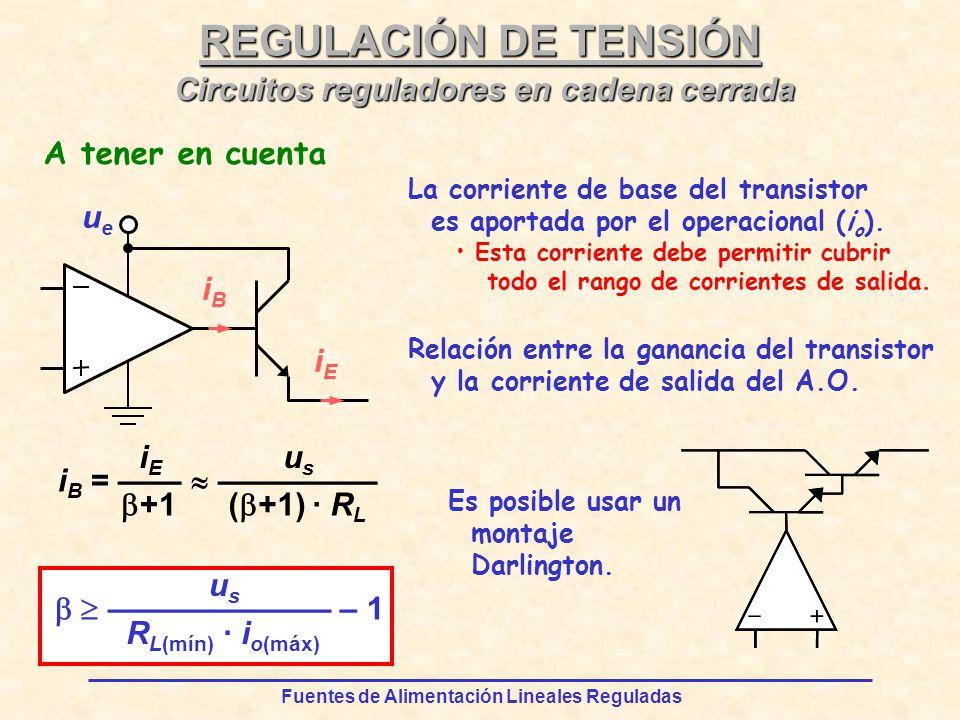 Fuentes de Alimentación Lineales Reguladas REGULACIÓN DE TENSIÓN i B = iEiE +1 usus ( +1) · R L – 1 usus R L(mín) · i o(máx) ueue iEiE iBiB La corriente de base del transistor es aportada por el operacional (i o ).