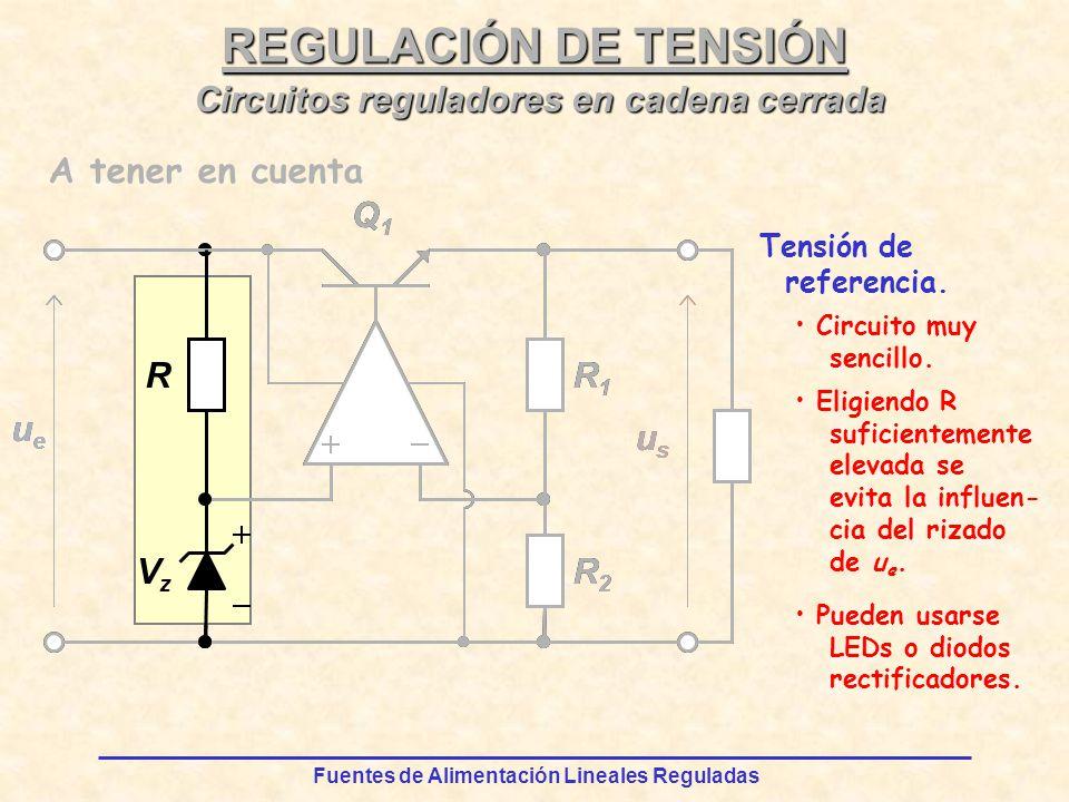 Fuentes de Alimentación Lineales Reguladas REGULACIÓN DE TENSIÓN R VzVz ueue Q1Q1 usus R2R2 R1R1 ueue R VzVz Q1Q1 usus R2R2 R1R1 Circuitos reguladores en cadena cerrada A tener en cuenta Tensión de referencia.