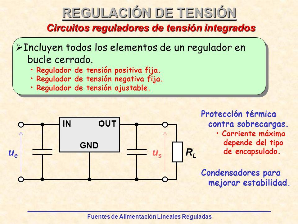 Fuentes de Alimentación Lineales Reguladas REGULACIÓN DE TENSIÓN Incluyen todos los elementos de un regulador en bucle cerrado.