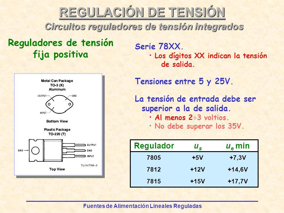Fuentes de Alimentación Lineales Reguladas REGULACIÓN DE TENSIÓN Serie 78XX.