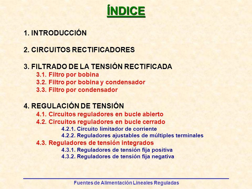 Fuentes de Alimentación Lineales Reguladas FILTRADO DE LA TENSIÓN RECTIFICADA v1v1 v2v2 Filtro por condensador Funcionamiento VpVp VpVp v1v1 v2v2 v1v1 v2v2 v1v1 v2v2