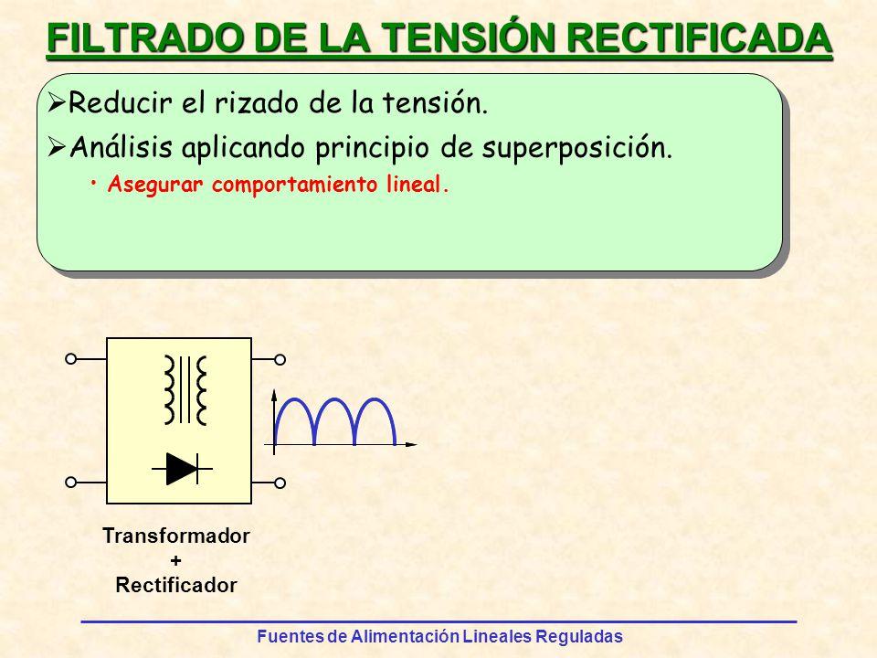 Fuentes de Alimentación Lineales Reguladas REGULACIÓN DE TENSIÓN Circuitos reguladores en cadena abierta u s = V z R RLRL VzVz usus F UENTE S IN R EGULAR ueue VzVz VpVp La tensión u e debe ser siempre mayor que la tensión u s.