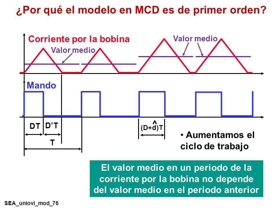 ¿Por qué el modelo en MCD es de primer orden.