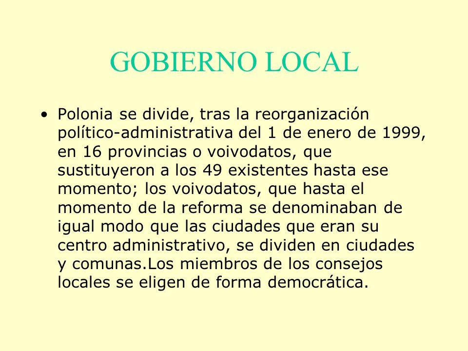 GOBIERNO LOCAL Polonia se divide, tras la reorganización político-administrativa del 1 de enero de 1999, en 16 provincias o voivodatos, que sustituyer