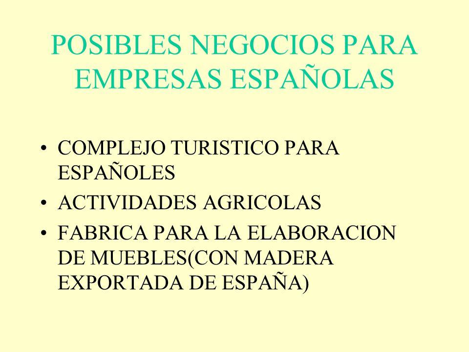 POSIBLES NEGOCIOS PARA EMPRESAS ESPAÑOLAS COMPLEJO TURISTICO PARA ESPAÑOLES ACTIVIDADES AGRICOLAS FABRICA PARA LA ELABORACION DE MUEBLES(CON MADERA EX