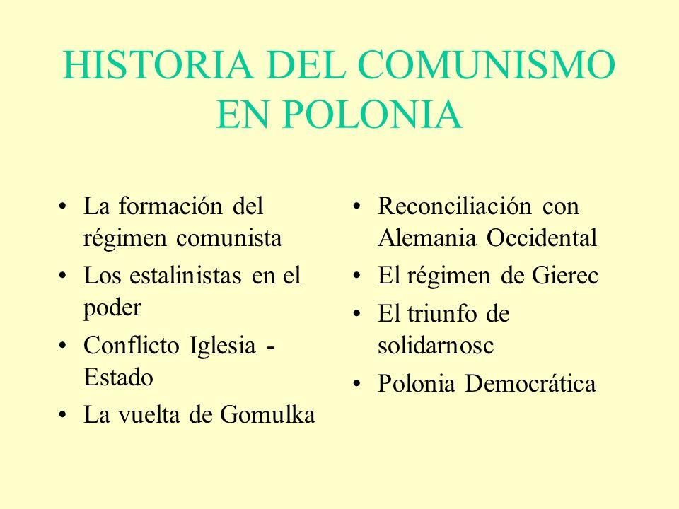HISTORIA DEL COMUNISMO EN POLONIA La formación del régimen comunista Los estalinistas en el poder Conflicto Iglesia - Estado La vuelta de Gomulka Reco