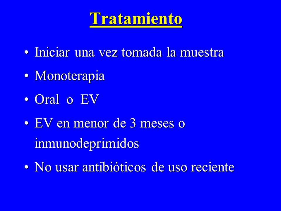 Tratamiento Iniciar una vez tomada la muestraIniciar una vez tomada la muestra MonoterapiaMonoterapia Oral o EVOral o EV EV en menor de 3 meses o inmu