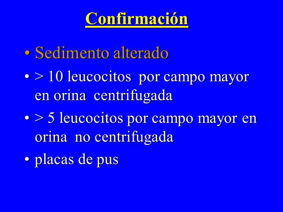 Confirmación Sedimento alteradoSedimento alterado > 10 leucocitos por campo mayor en orina centrifugada> 10 leucocitos por campo mayor en orina centri