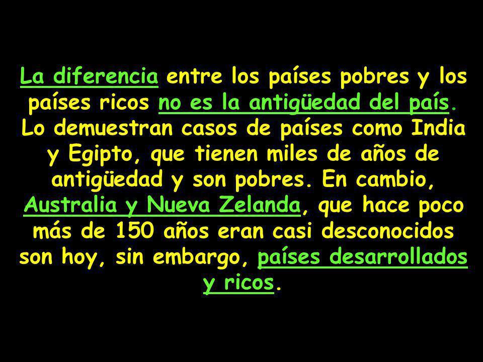 La diferencia entre los países pobres y los países ricos no es la antigüedad del país.
