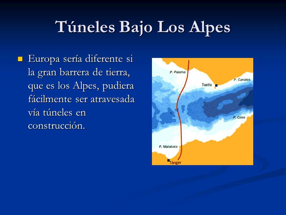 Túneles Bajo Los Alpes Europa sería diferente si la gran barrera de tierra, que es los Alpes, pudiera fácilmente ser atravesada vía túneles en construcción.