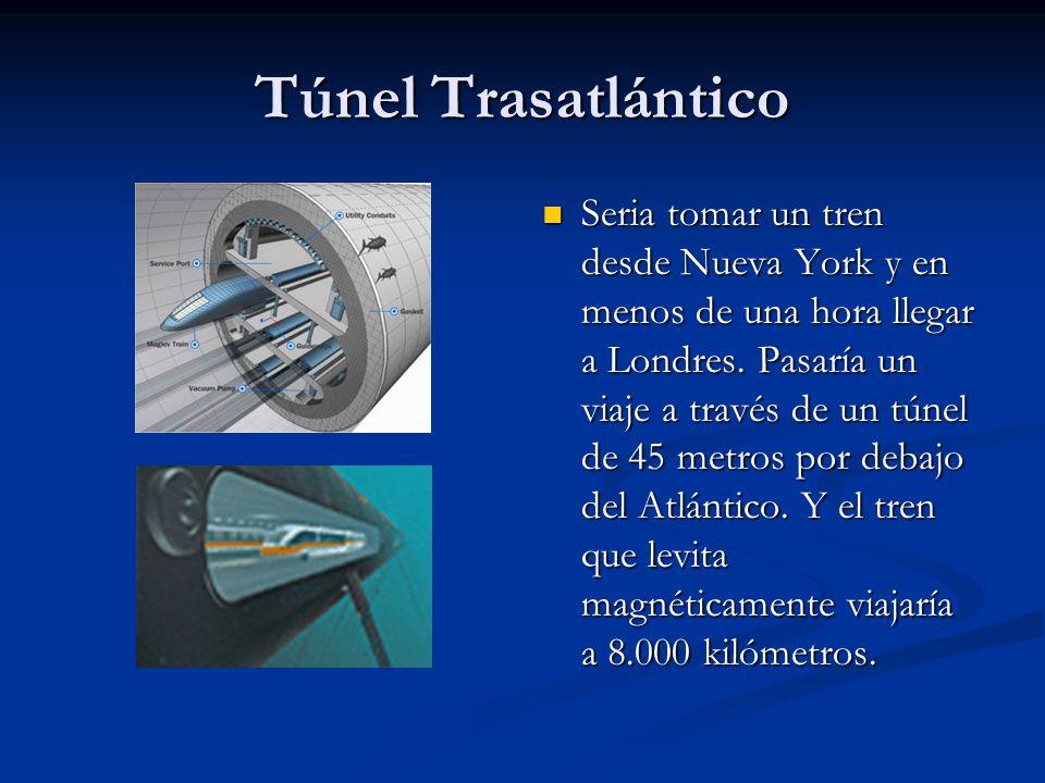 Túnel Trasatlántico Seria tomar un tren desde Nueva York y en menos de una hora llegar a Londres. Pasaría un viaje a través de un túnel de 45 metros p