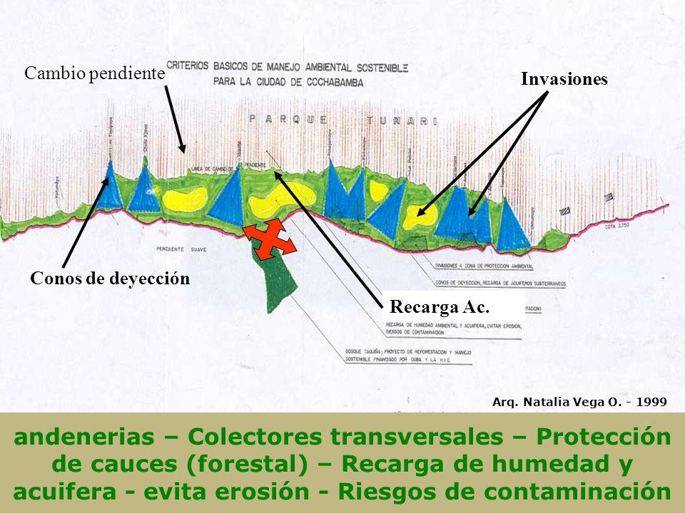 andenerias – Colectores transversales – Protección de cauces (forestal) – Recarga de humedad y acuifera - evita erosión - Riesgos de contaminación Invasiones Conos de deyección Recarga Ac.