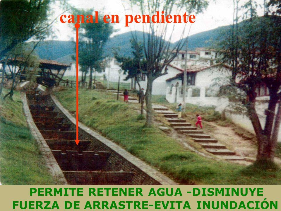 PERMITE RETENER AGUA -DISMINUYE FUERZA DE ARRASTRE-EVITA INUNDACIÓN canal en pendiente
