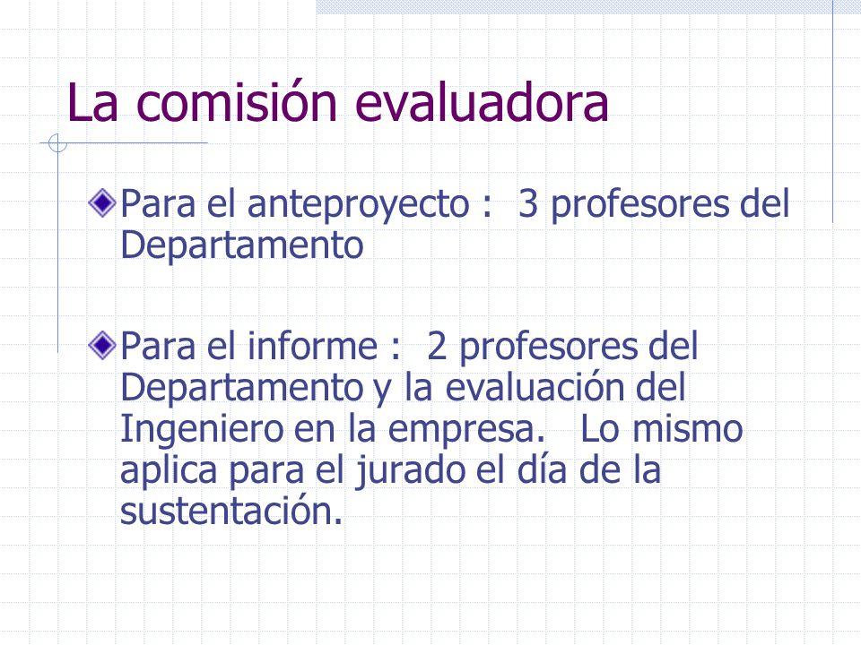 La comisión evaluadora Para el anteproyecto : 3 profesores del Departamento Para el informe : 2 profesores del Departamento y la evaluación del Ingeniero en la empresa.