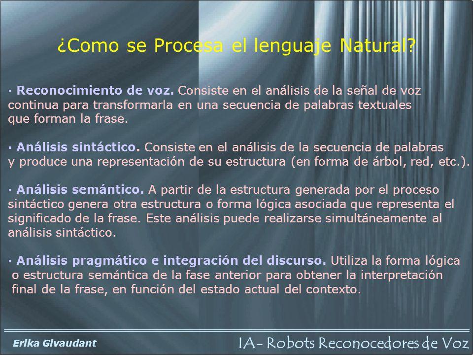 IA- Robots Reconocedores de Voz Erika Givaudant Proceso seguido en el interfaz de voz para el robot.
