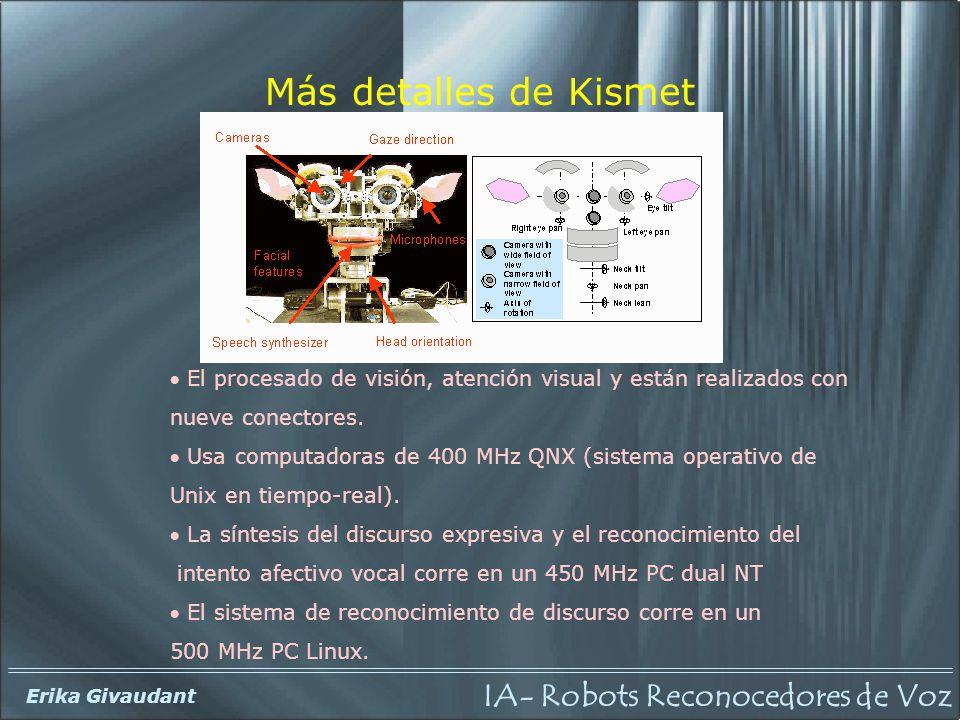 IA- Robots Reconocedores de Voz Erika Givaudant El procesado de visión, atención visual y están realizados con nueve conectores. Usa computadoras de 4