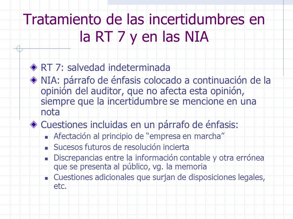 Tratamiento de las incertidumbres en la RT 7 y en las NIA RT 7: salvedad indeterminada NIA: párrafo de énfasis colocado a continuación de la opinión d