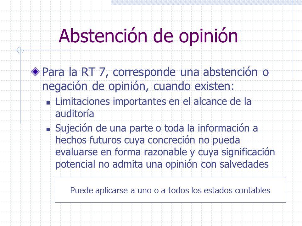 Abstención de opinión Para la RT 7, corresponde una abstención o negación de opinión, cuando existen: Limitaciones importantes en el alcance de la aud