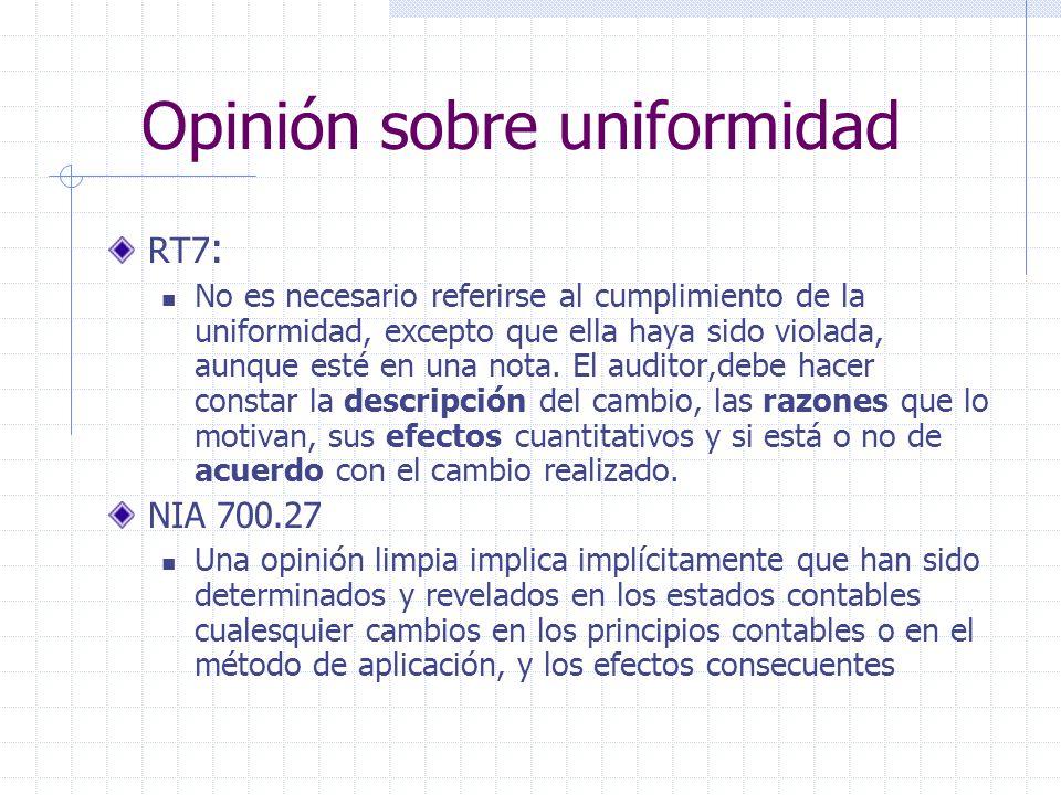 Opinión sobre uniformidad RT7 : No es necesario referirse al cumplimiento de la uniformidad, excepto que ella haya sido violada, aunque esté en una no