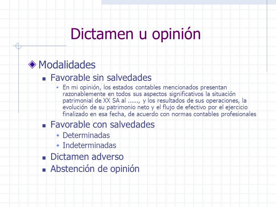 Dictamen u opinión Modalidades Favorable sin salvedades En mi opinión, los estados contables mencionados presentan razonablemente en todos sus aspecto