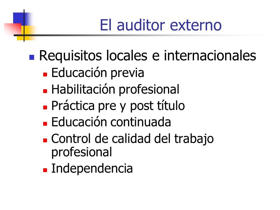 El auditor externo Requisitos locales e internacionales Educación previa Habilitación profesional Práctica pre y post título Educación continuada Control de calidad del trabajo profesional Independencia