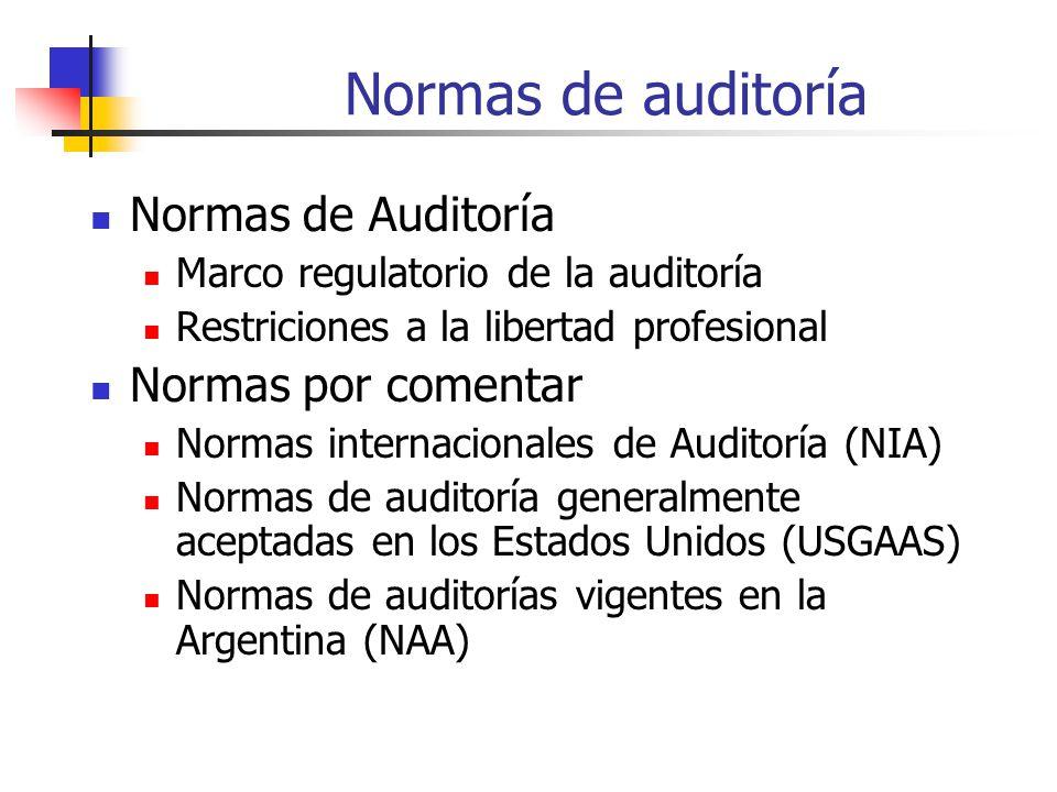 Normas de auditoría Normas de Auditoría Marco regulatorio de la auditoría Restriciones a la libertad profesional Normas por comentar Normas internacionales de Auditoría (NIA) Normas de auditoría generalmente aceptadas en los Estados Unidos (USGAAS) Normas de auditorías vigentes en la Argentina (NAA)