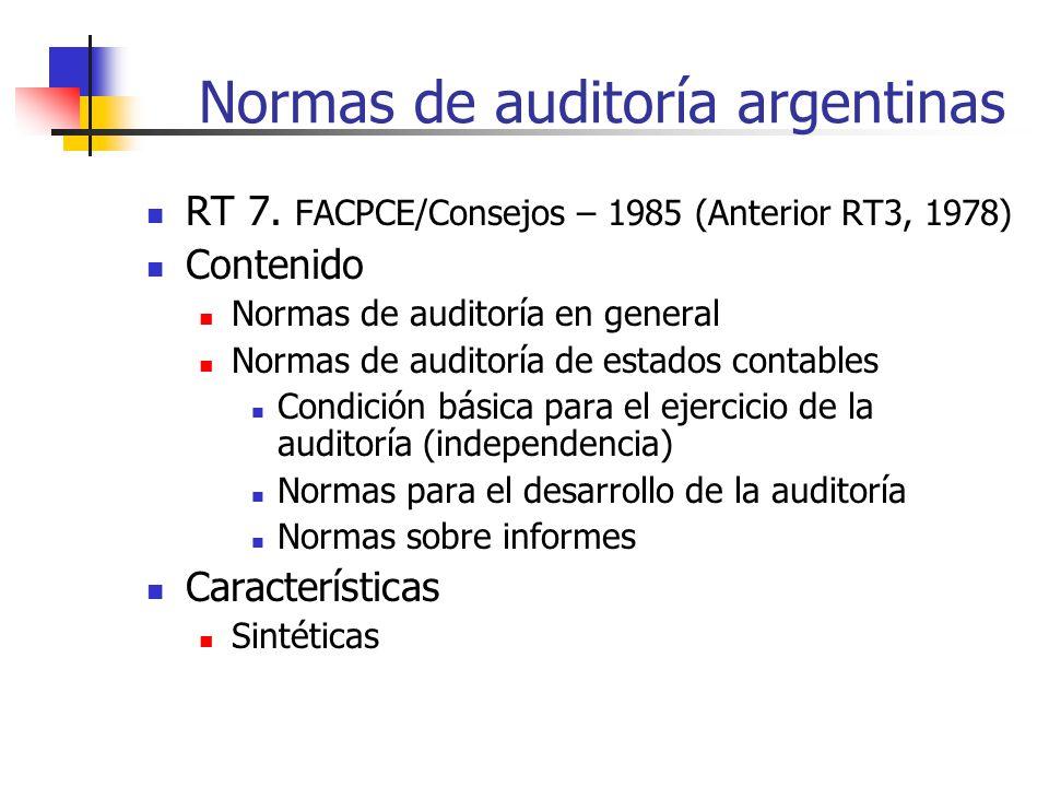 Normas de auditoría argentinas RT 7.
