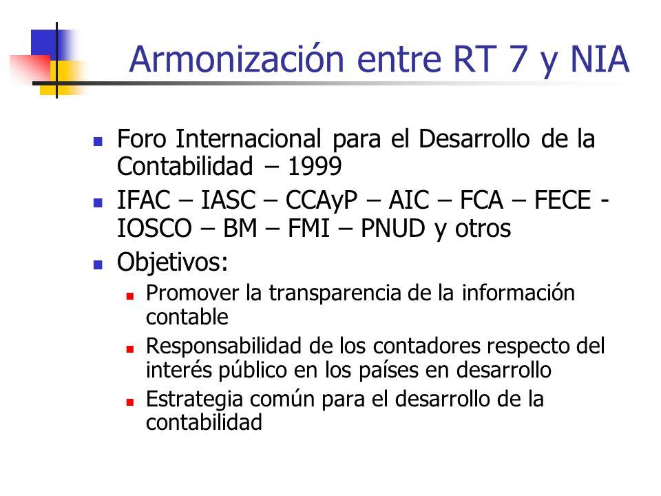 Armonización entre RT 7 y NIA Foro Internacional para el Desarrollo de la Contabilidad – 1999 IFAC – IASC – CCAyP – AIC – FCA – FECE - IOSCO – BM – FMI – PNUD y otros Objetivos: Promover la transparencia de la información contable Responsabilidad de los contadores respecto del interés público en los países en desarrollo Estrategia común para el desarrollo de la contabilidad